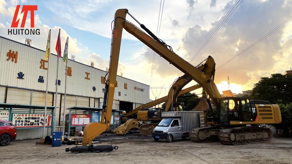 Excavator long front boom, always giving back to the society