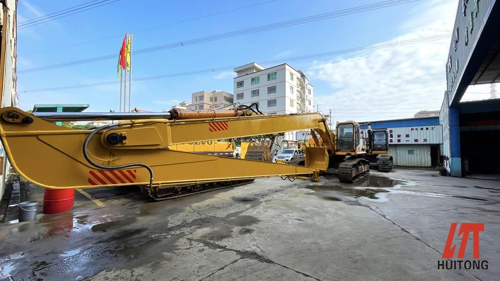 Excavator long front arm selection and precautions