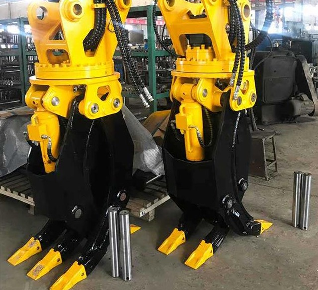 How to install the excavator rotary grapple?